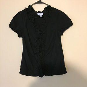 Loft ruffle career blouse short sleeve Ann Taylor